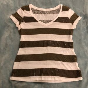 New York & Co soho jeans striped tee shirt- size M